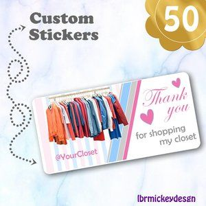 50 THANK YOU  Personalized Closet Sticker…